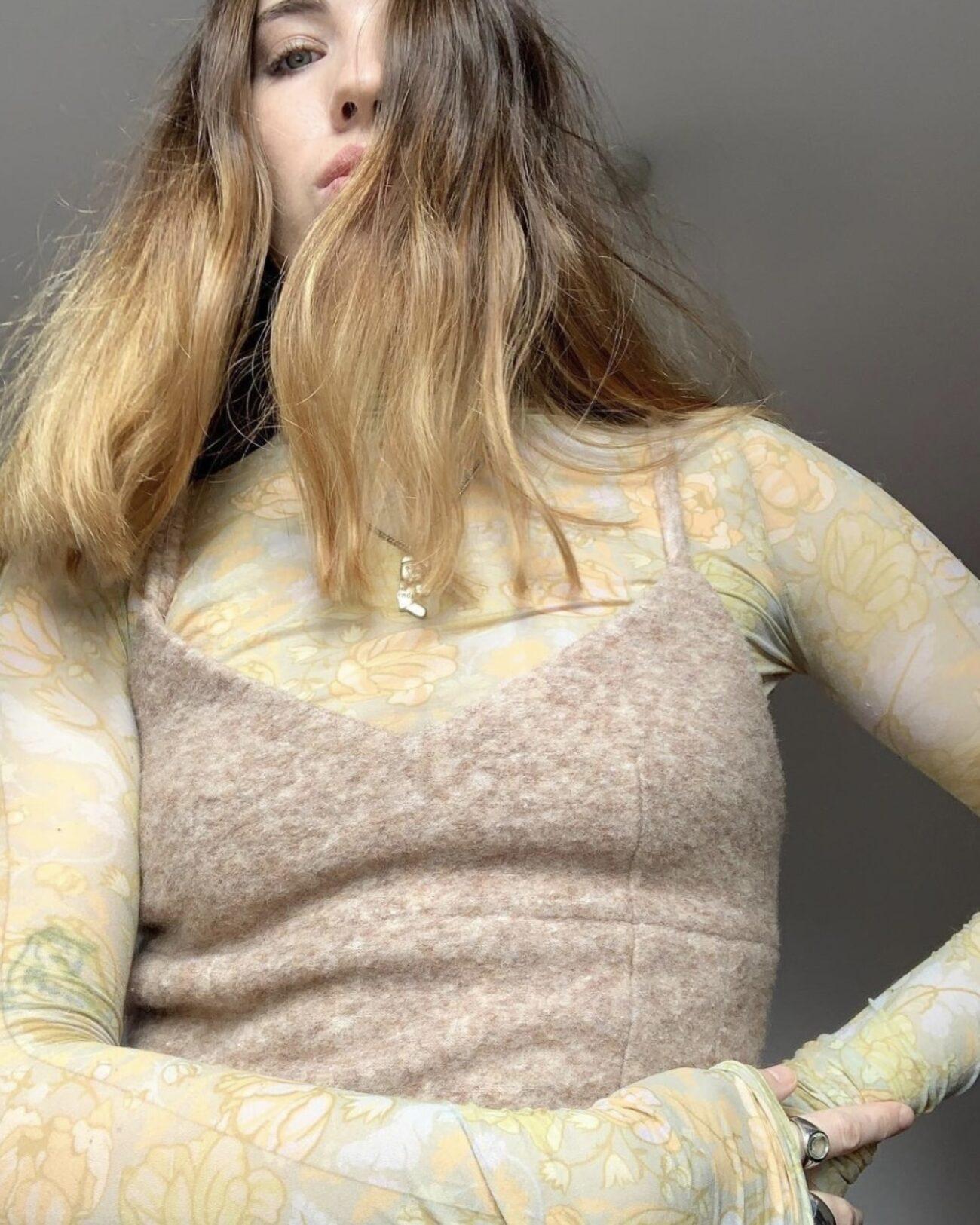 Rhianna Ellington wearing EMIN + PAUL beige felted wool corset top
