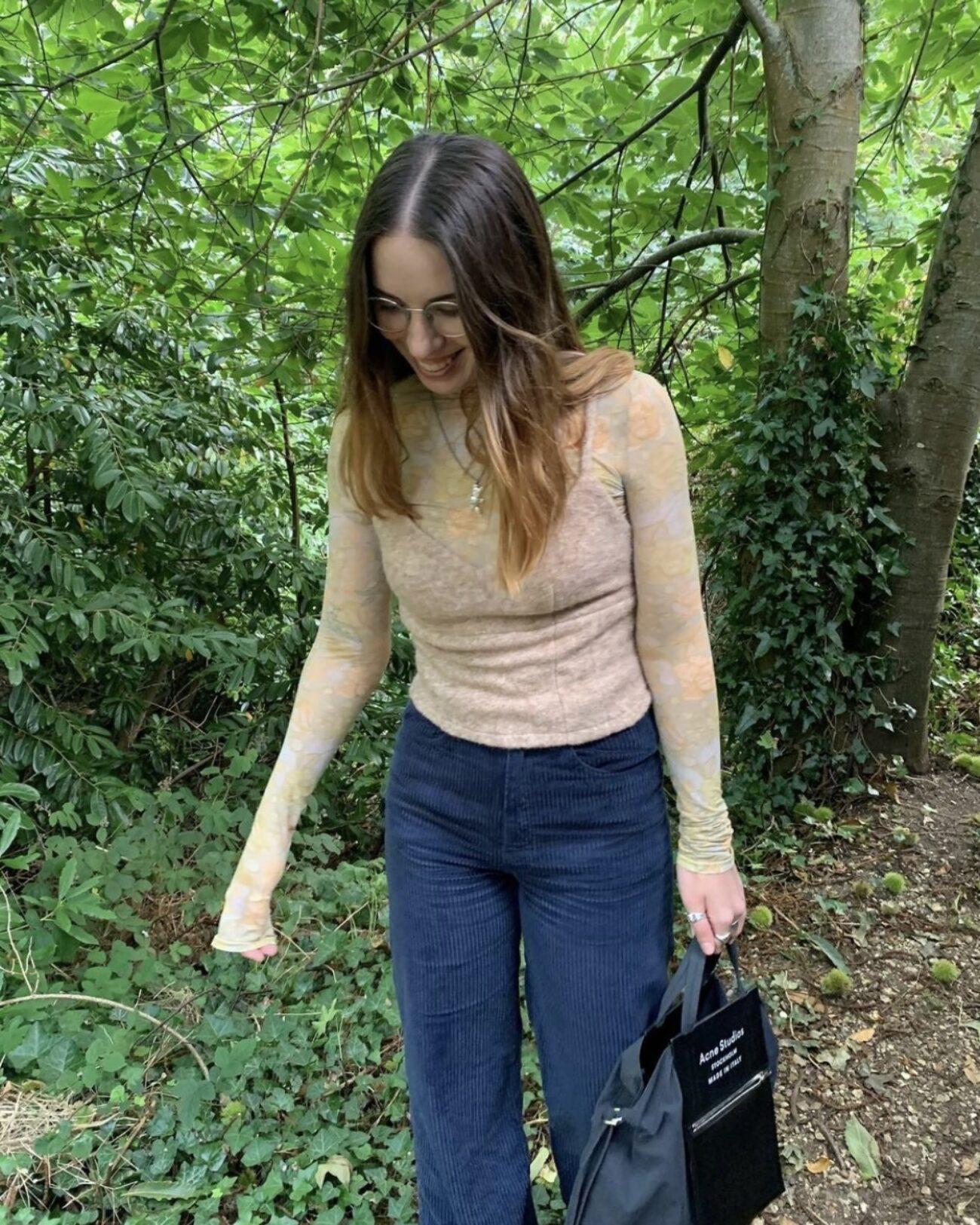 Rhianna Ellington wearing EMIN + PAUL beige felted wool corset top.