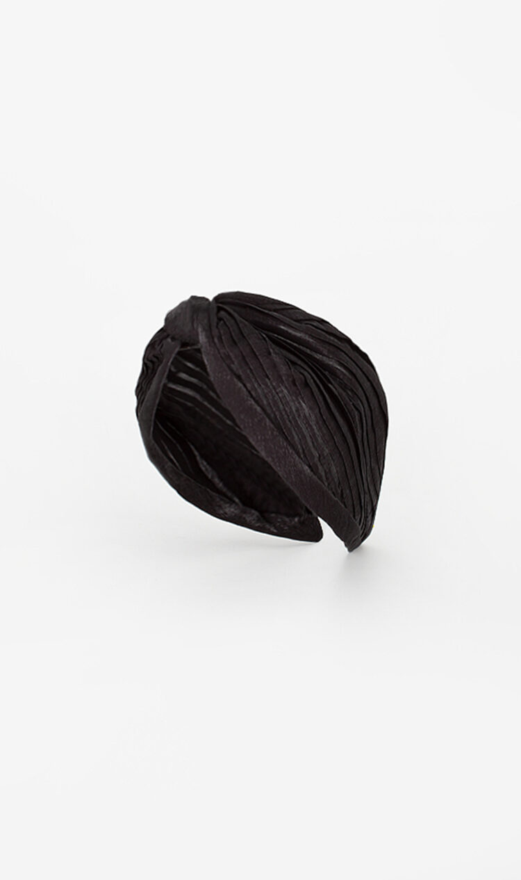 Black pleated satin headband