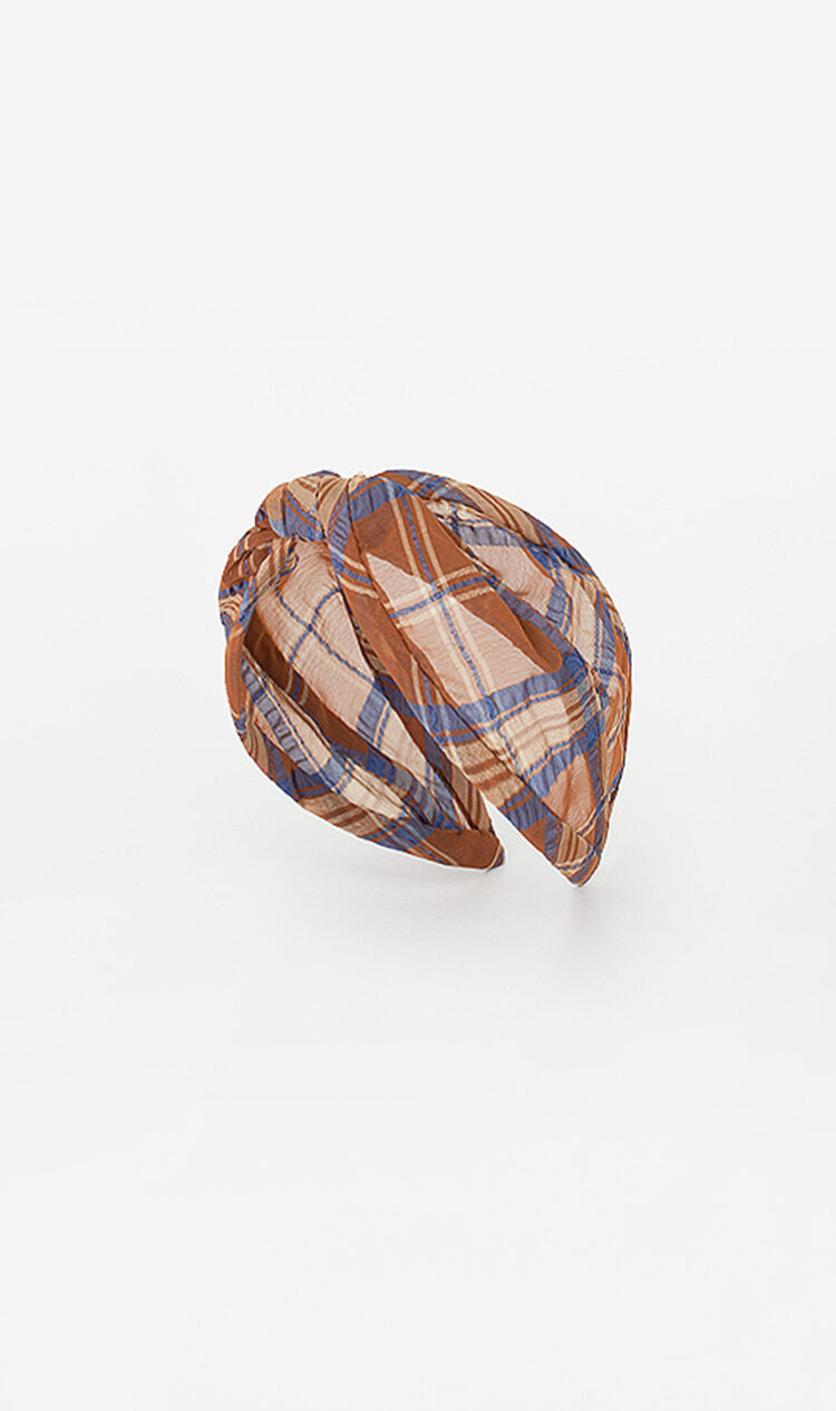 Brown check headband