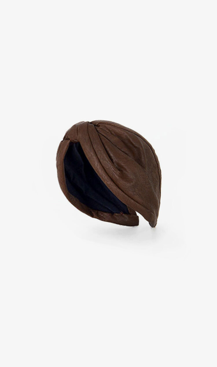 Chocolate faux leather headband