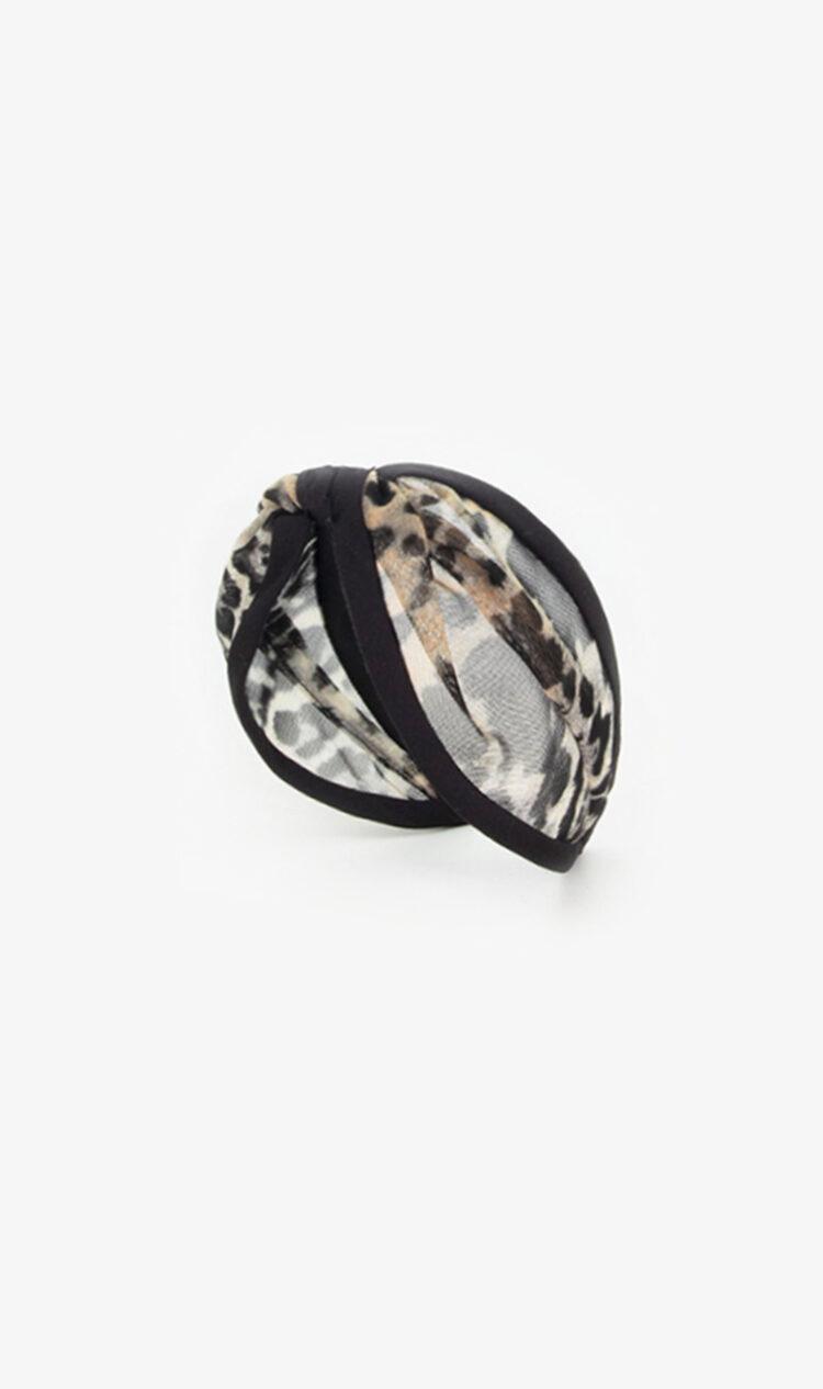 Grey leopard print mesh piped headband
