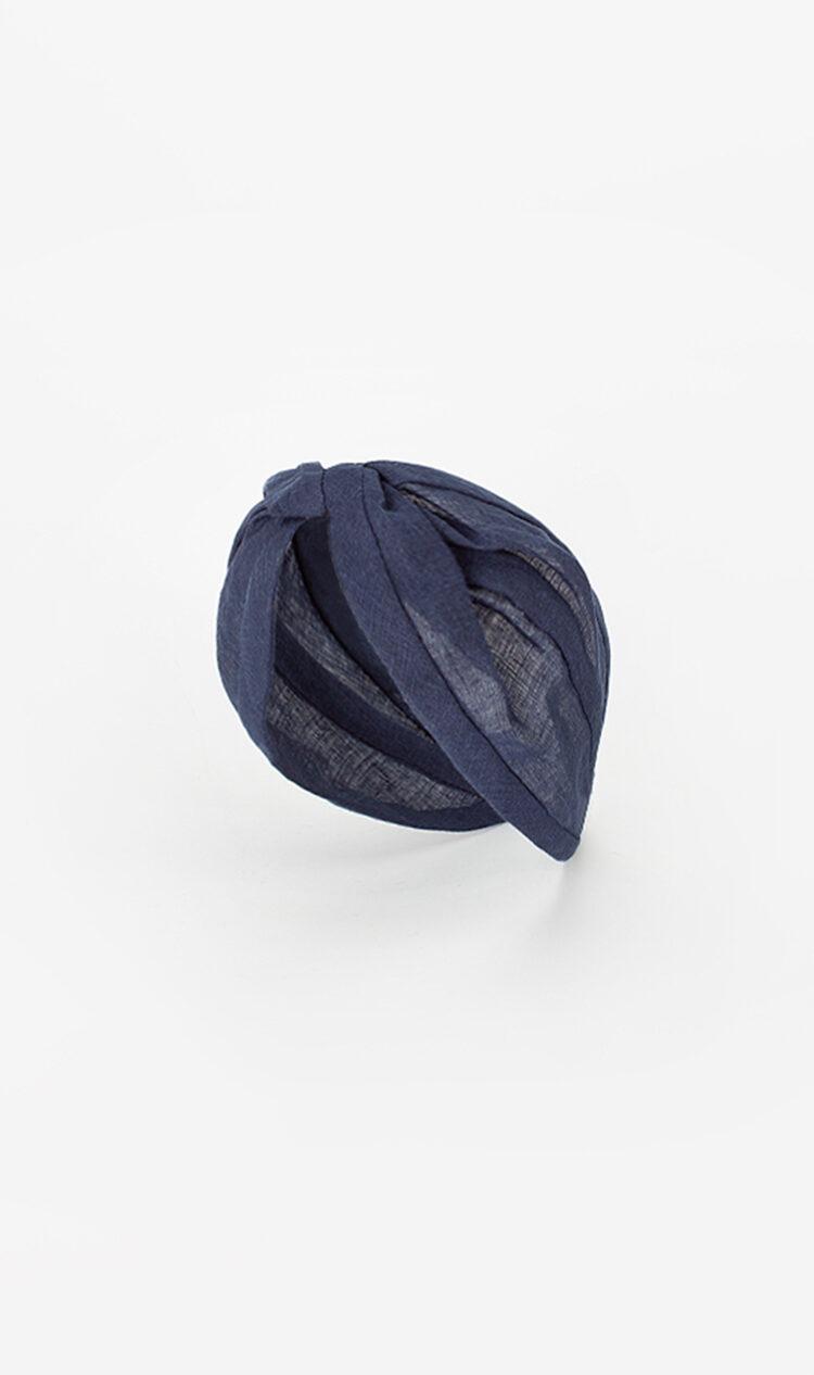 Navy linen headband