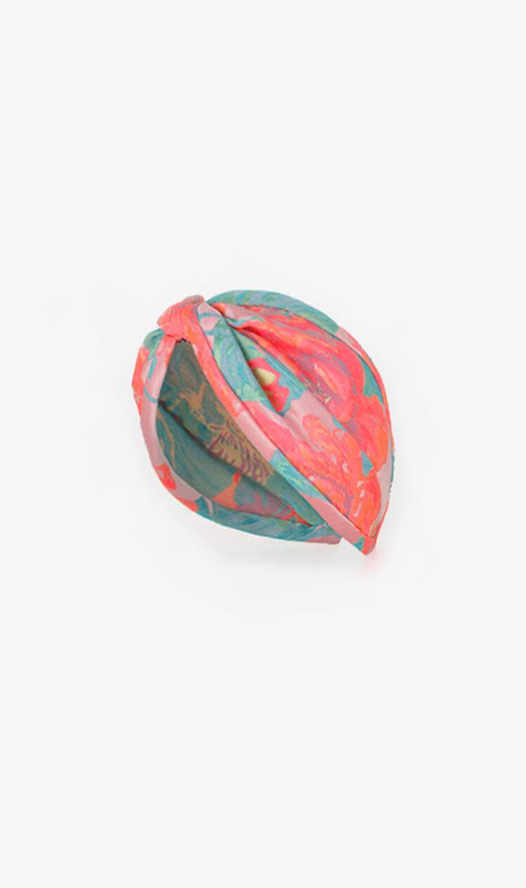 Pink fluorescent jacquard headband