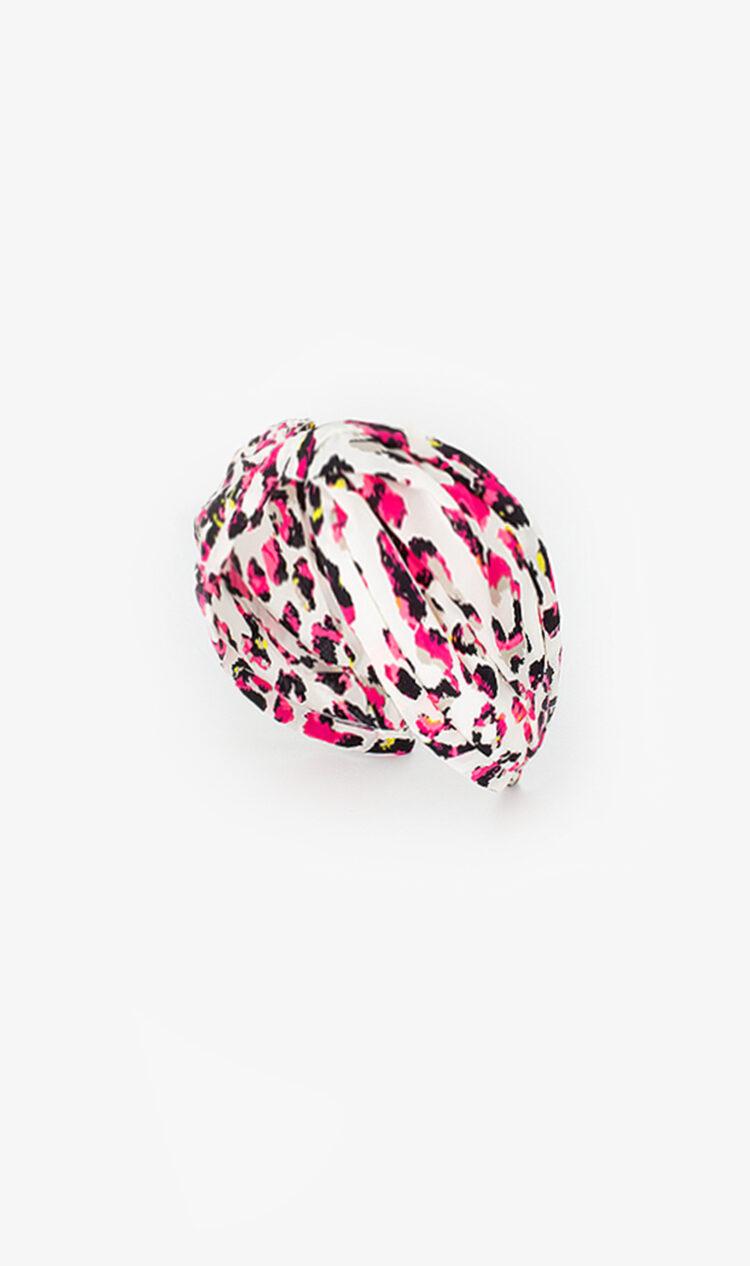 Pink fluorescent leopard print headband