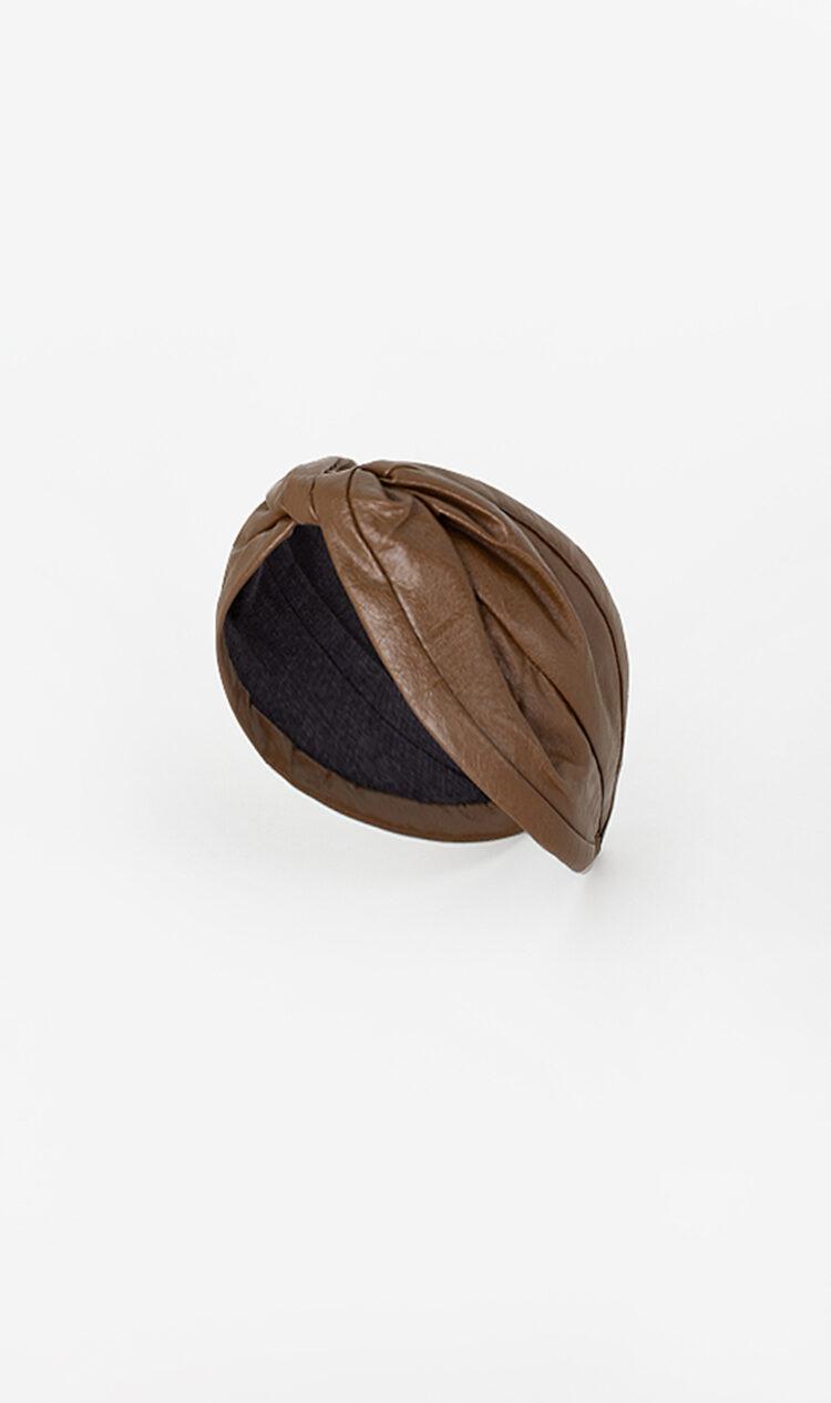 Tan faux leather headband