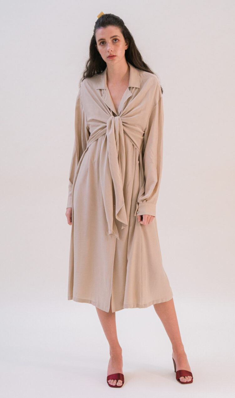 Beige tie-front trench coat