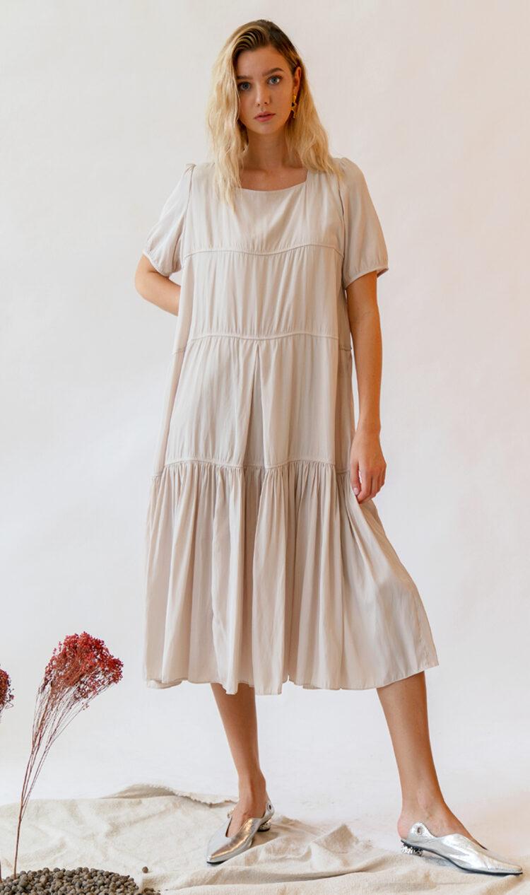 Beige tiered smock dress