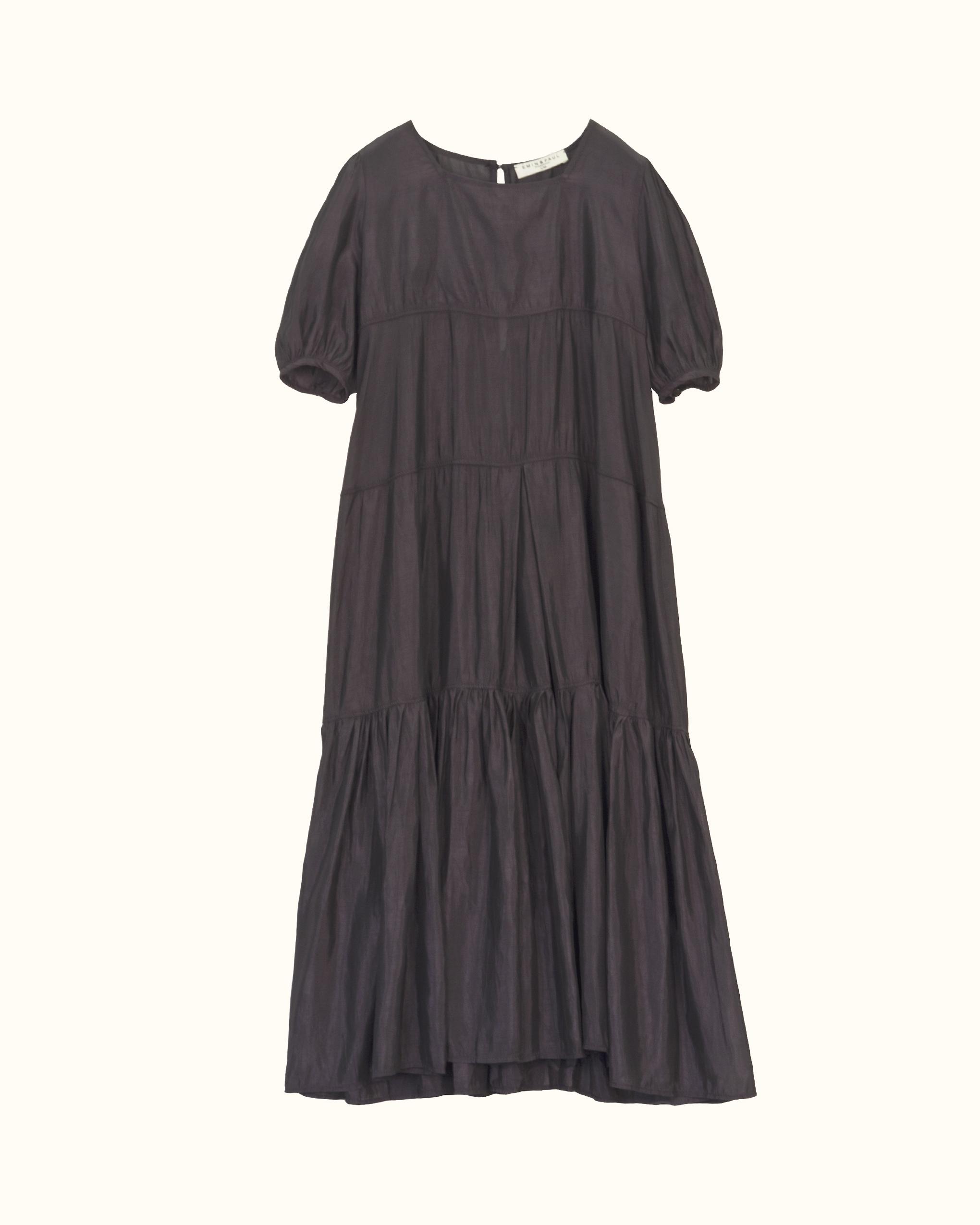 A black tiered smock dress.