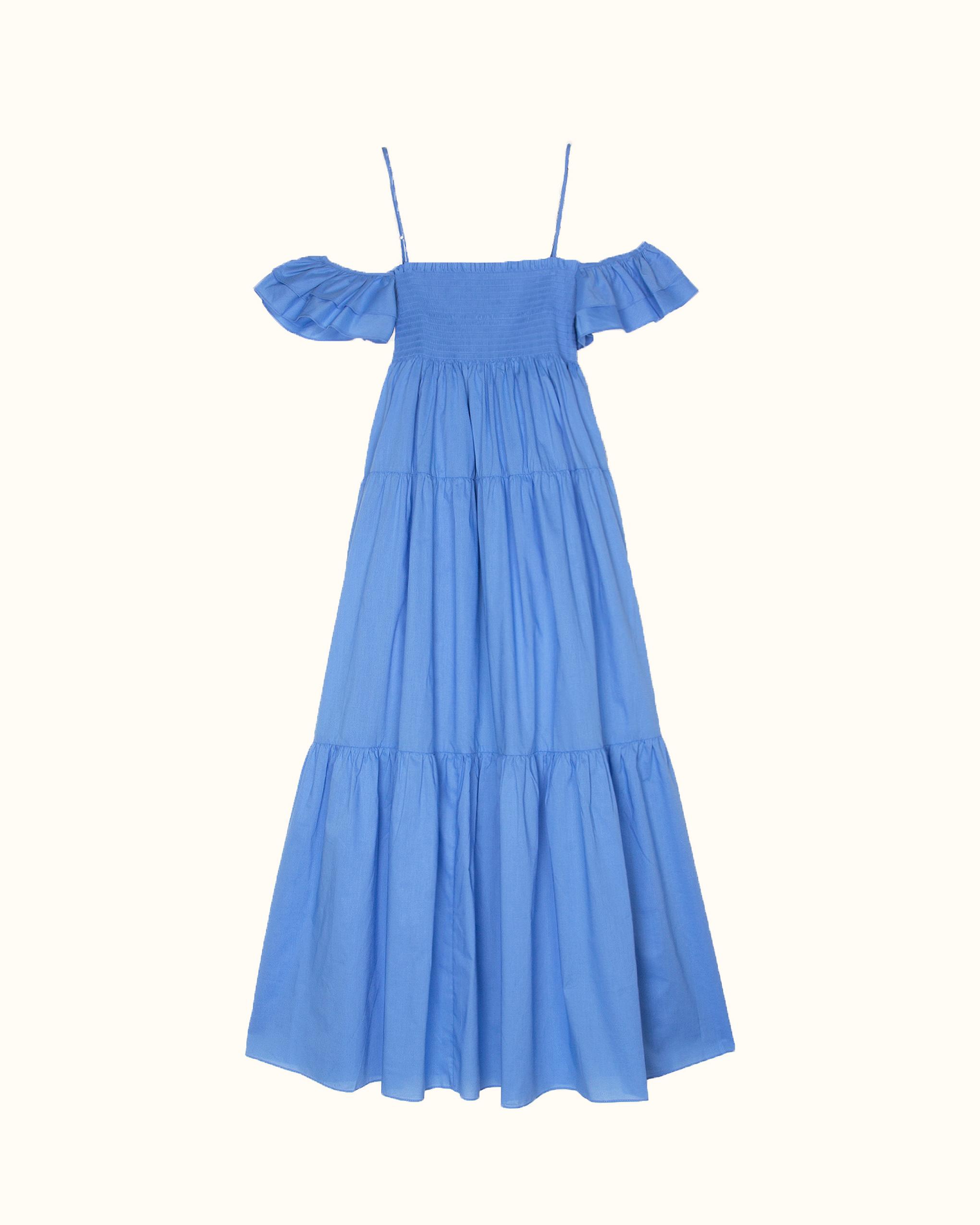 A blue ruffle off-the-shoulder dress.
