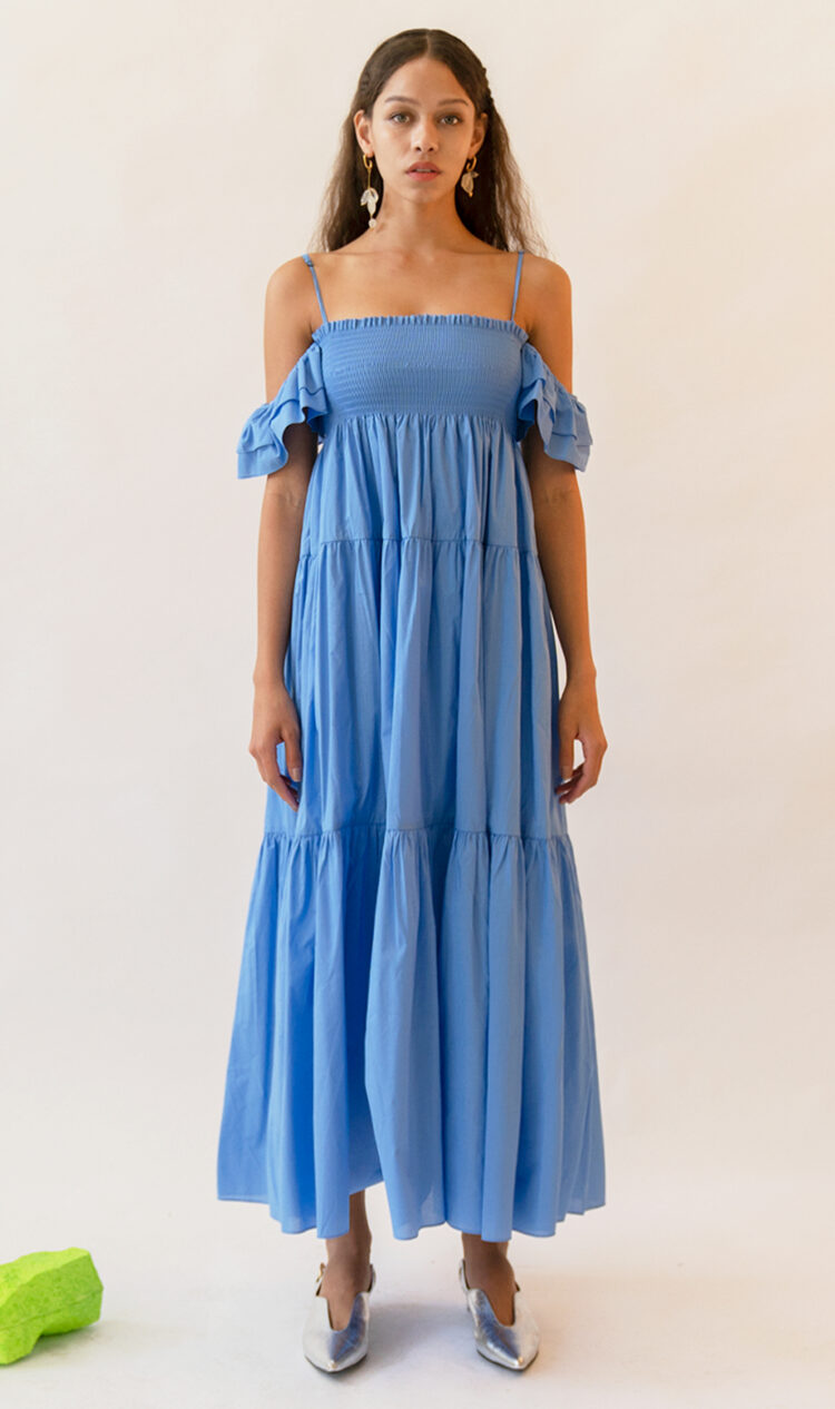 Blue ruffle off-the-shoulder dress