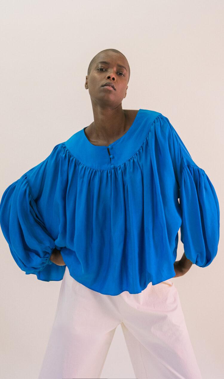 Cobalt wide-banded bateau neck volume blouse