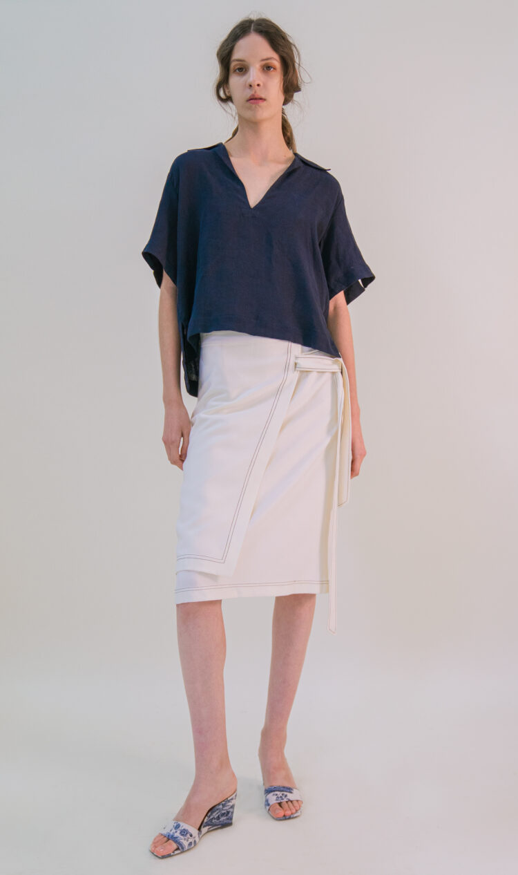 Cream double layer tie belt wrap skirt