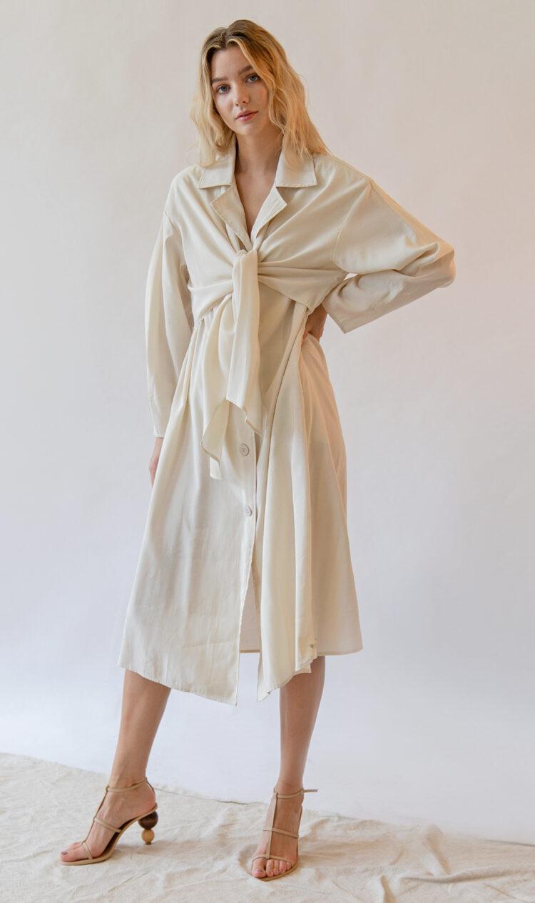Cream tie-front trench coat