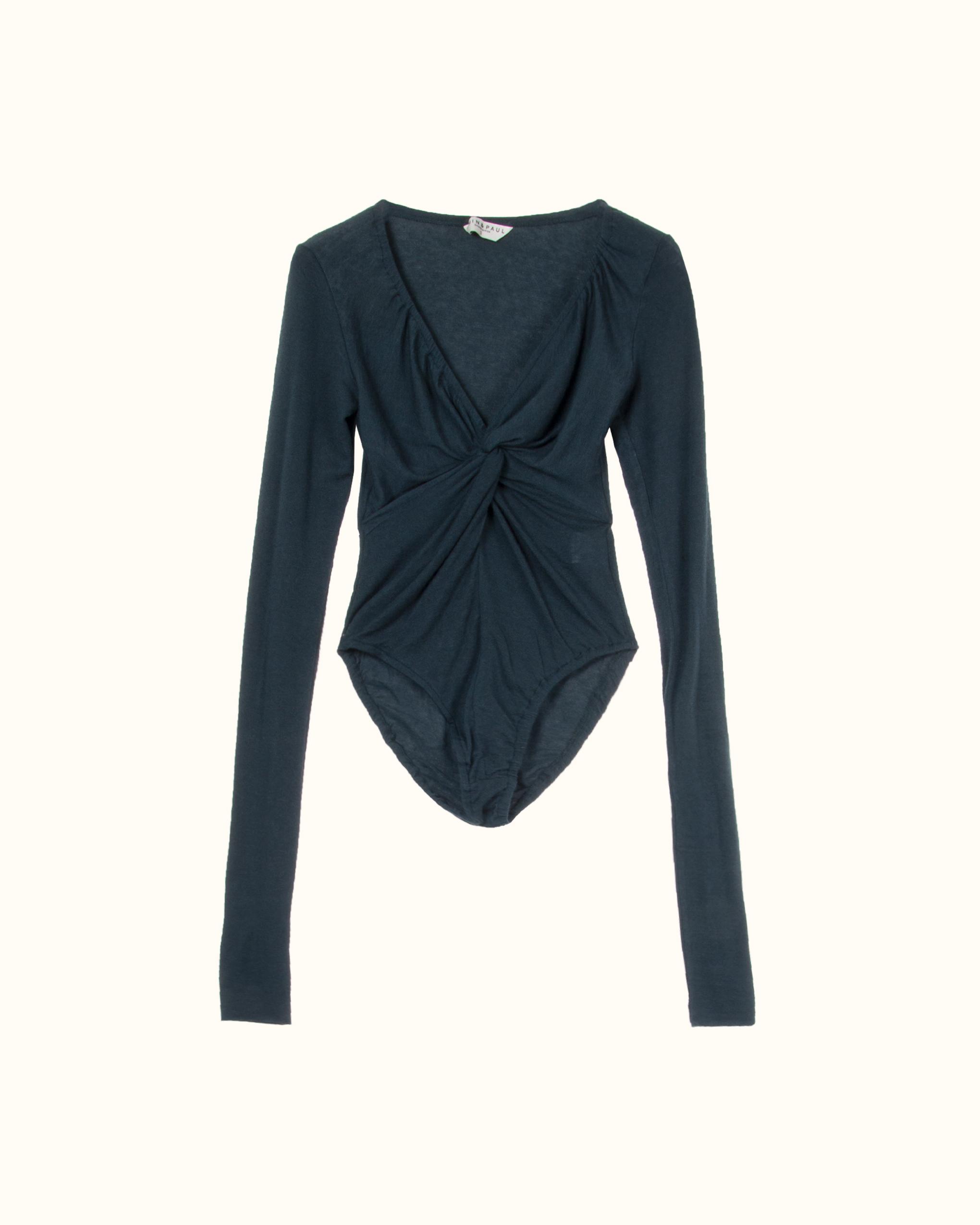 A middle twist long sleeve wool blend bodysuit.