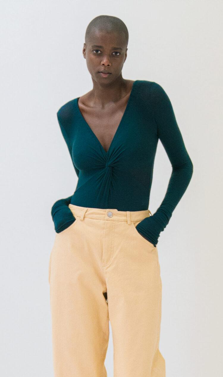 Blue-green twist-front wool blend bodysuit
