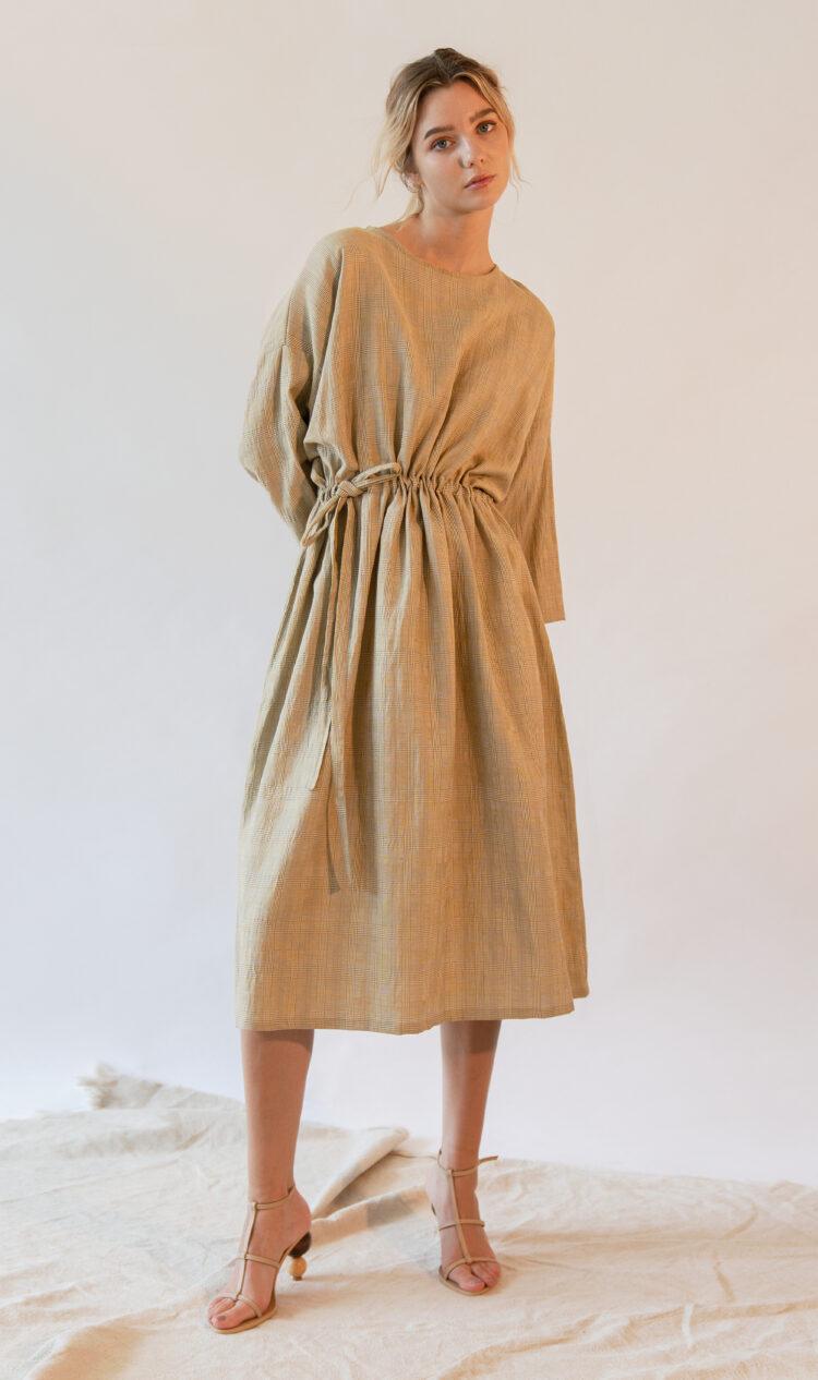 Yellow check curved gathered-waist linen-blend dress