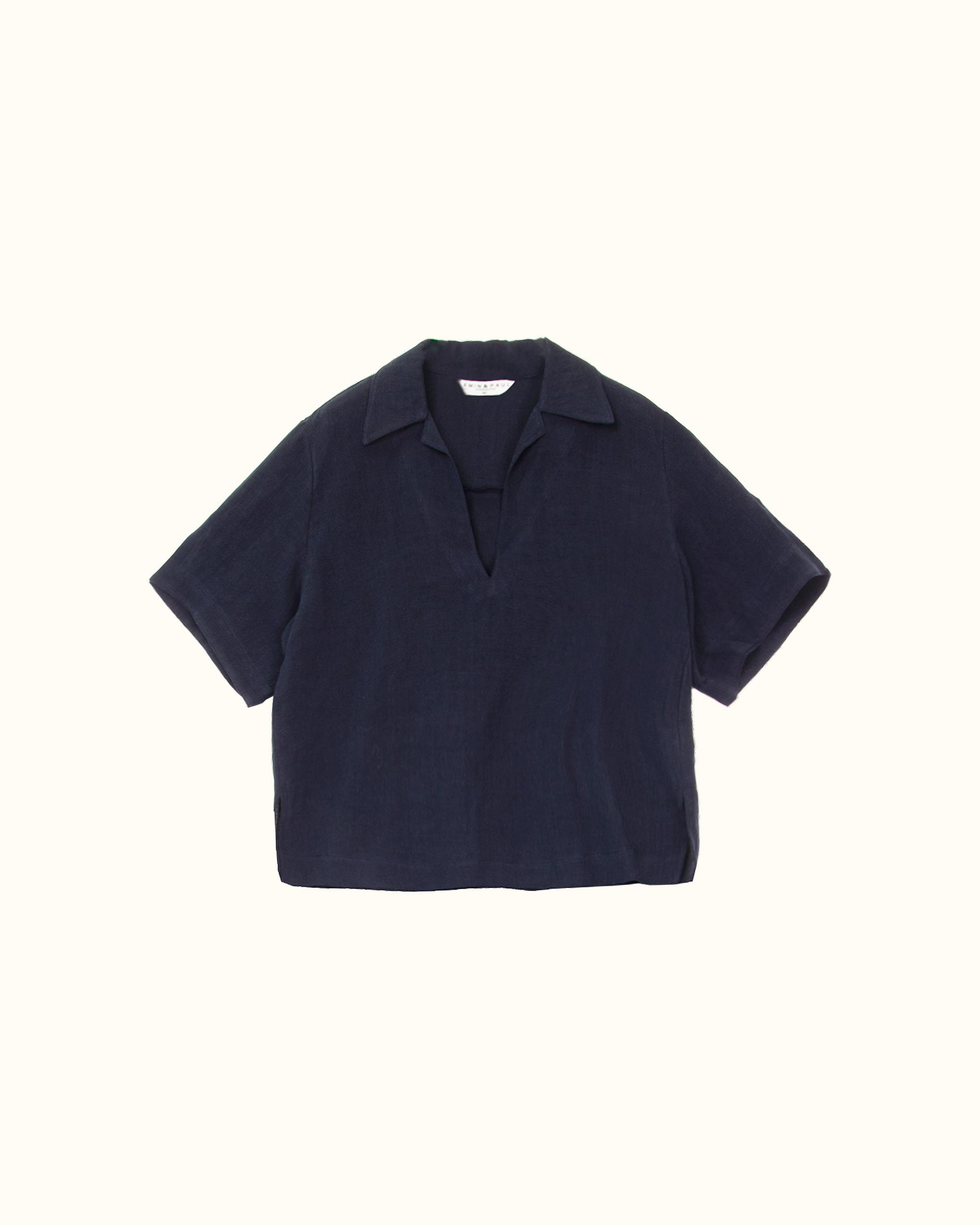 A navy cropped pop-over linen-blend shirt blouse.