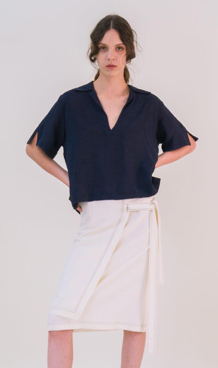 Navy cropped pop-over linen blend shirt blouse