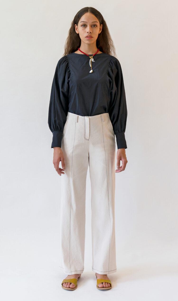 Cream contrast stitch trousers