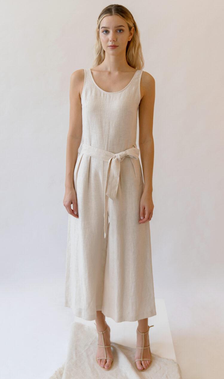 White sleeveless scoop back linen jumpsuit