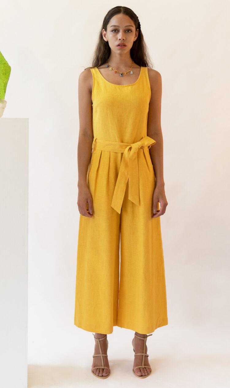 Yellow sleeveless scoop back linen jumpsuit