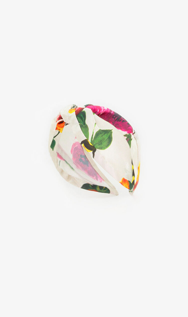 Cream floral satin headband