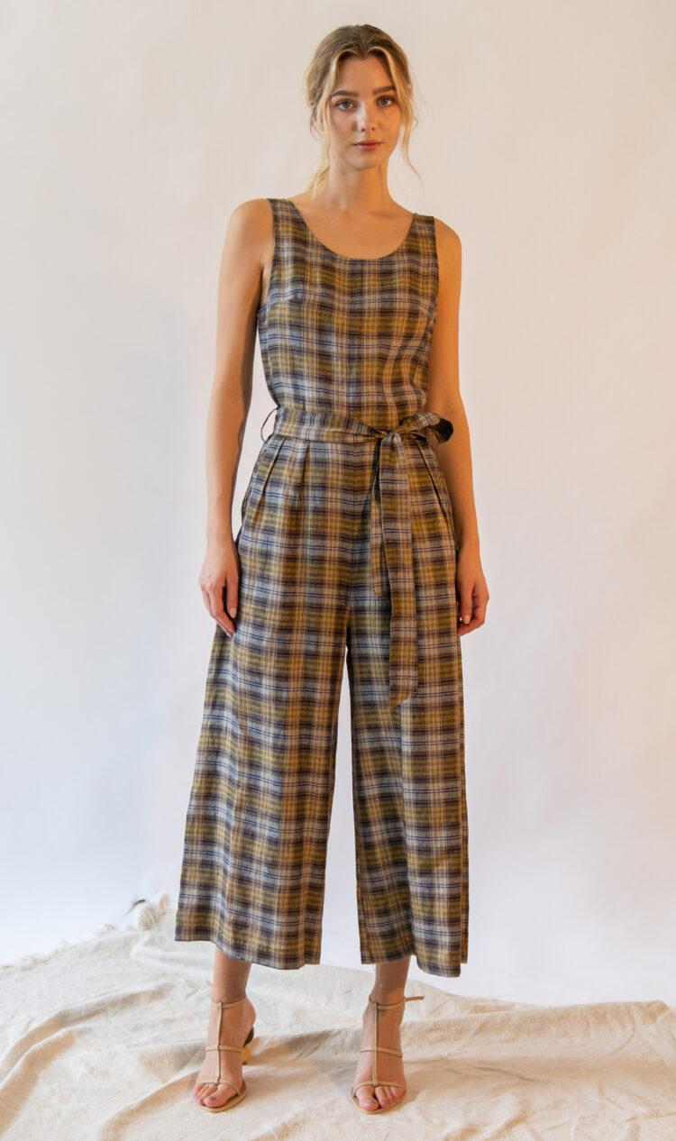 Beige check sleeveless scoop back linen jumpsuit