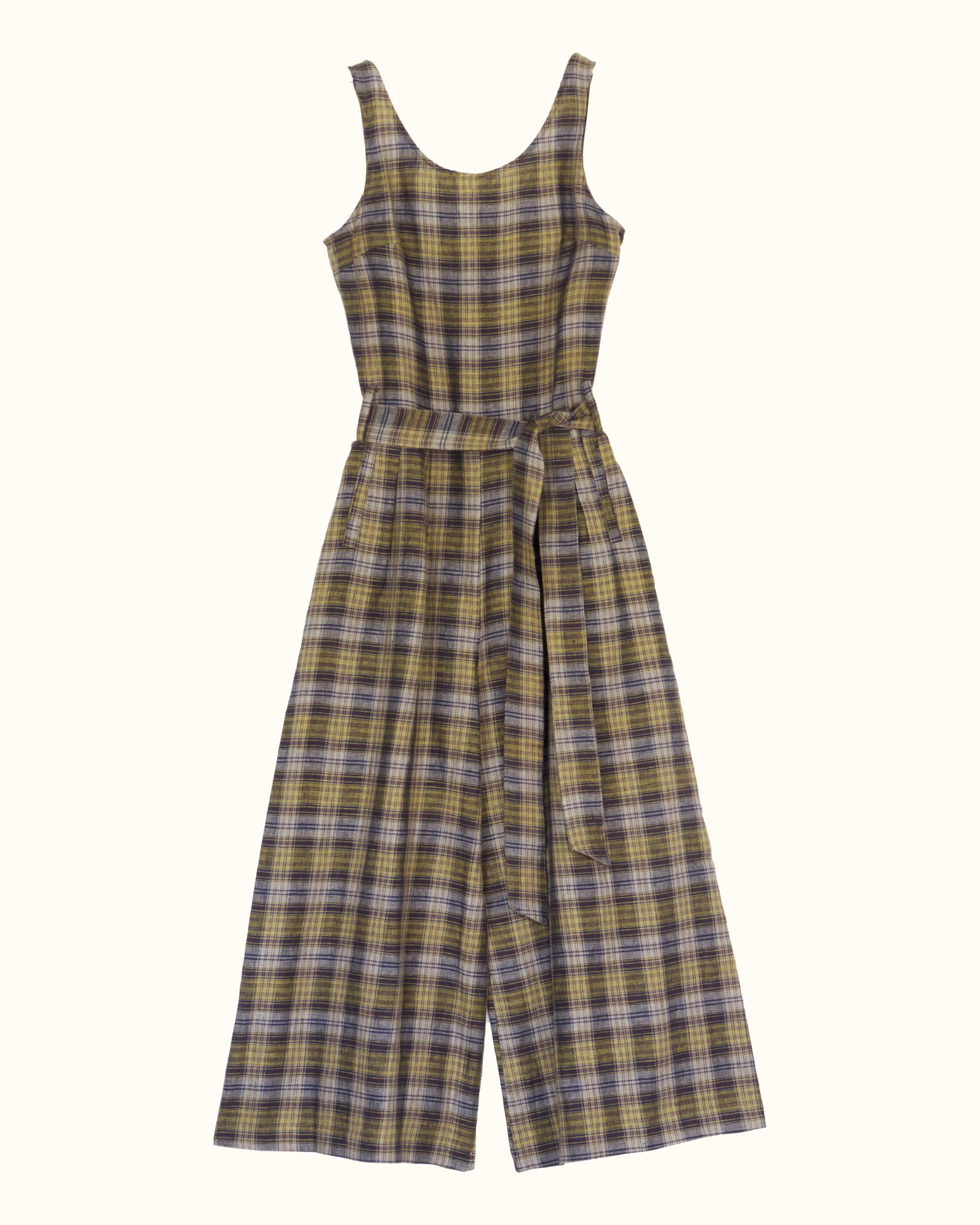 A beige check sleeveless scoop back linen jumpsuit.