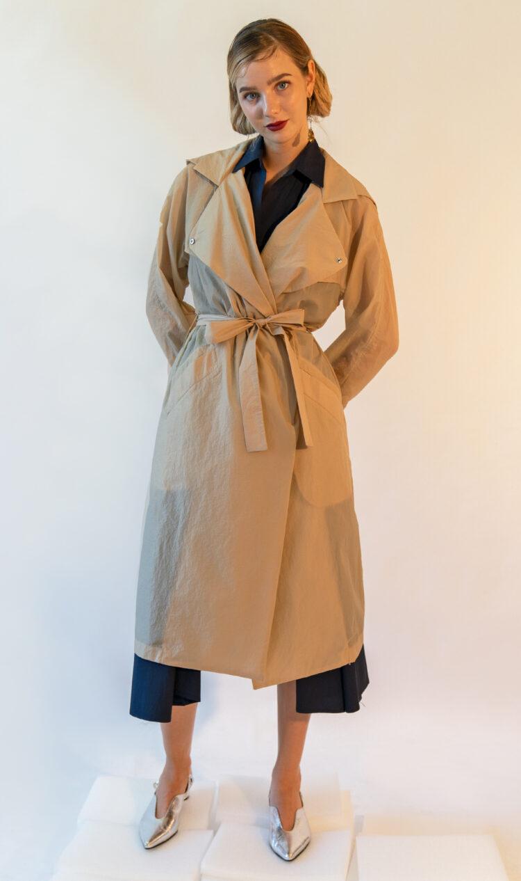 Beige lightweight trench style rain jacket