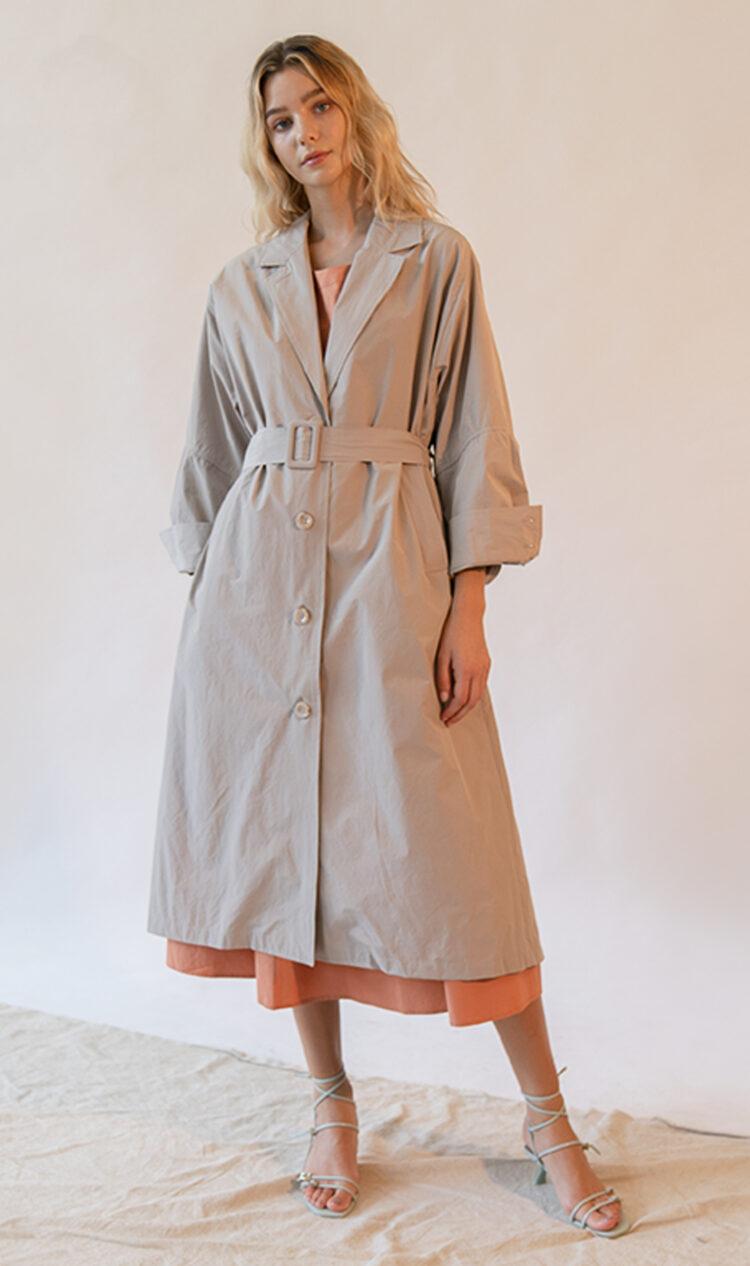 Beige volume sleeve cotton blend trench coat