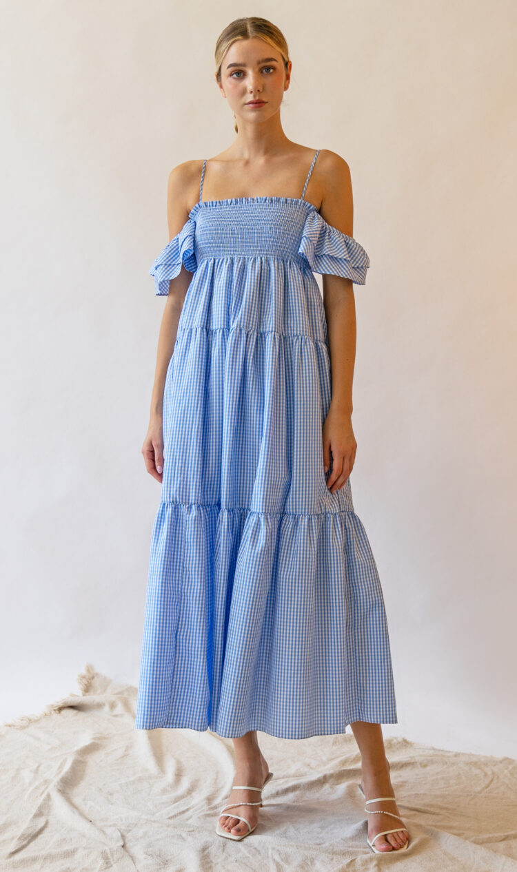 Blue check ruffle off-the-shoulder dress