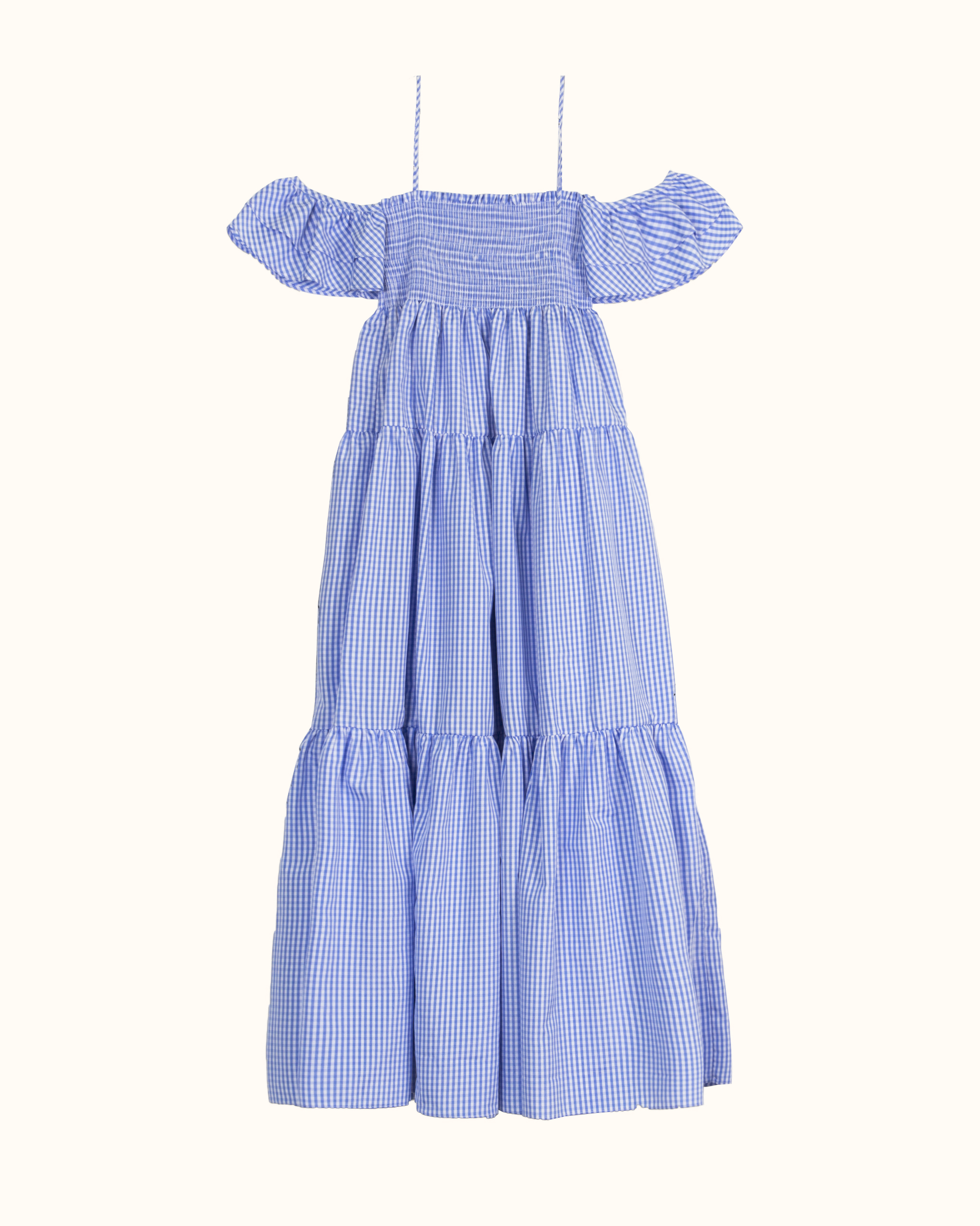 A blue check ruffle off-the-shoulder dress.