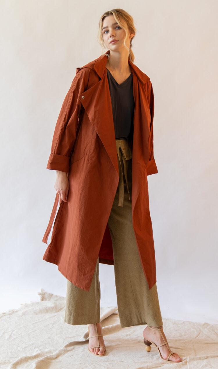Brick lightweight trench style rain jacket