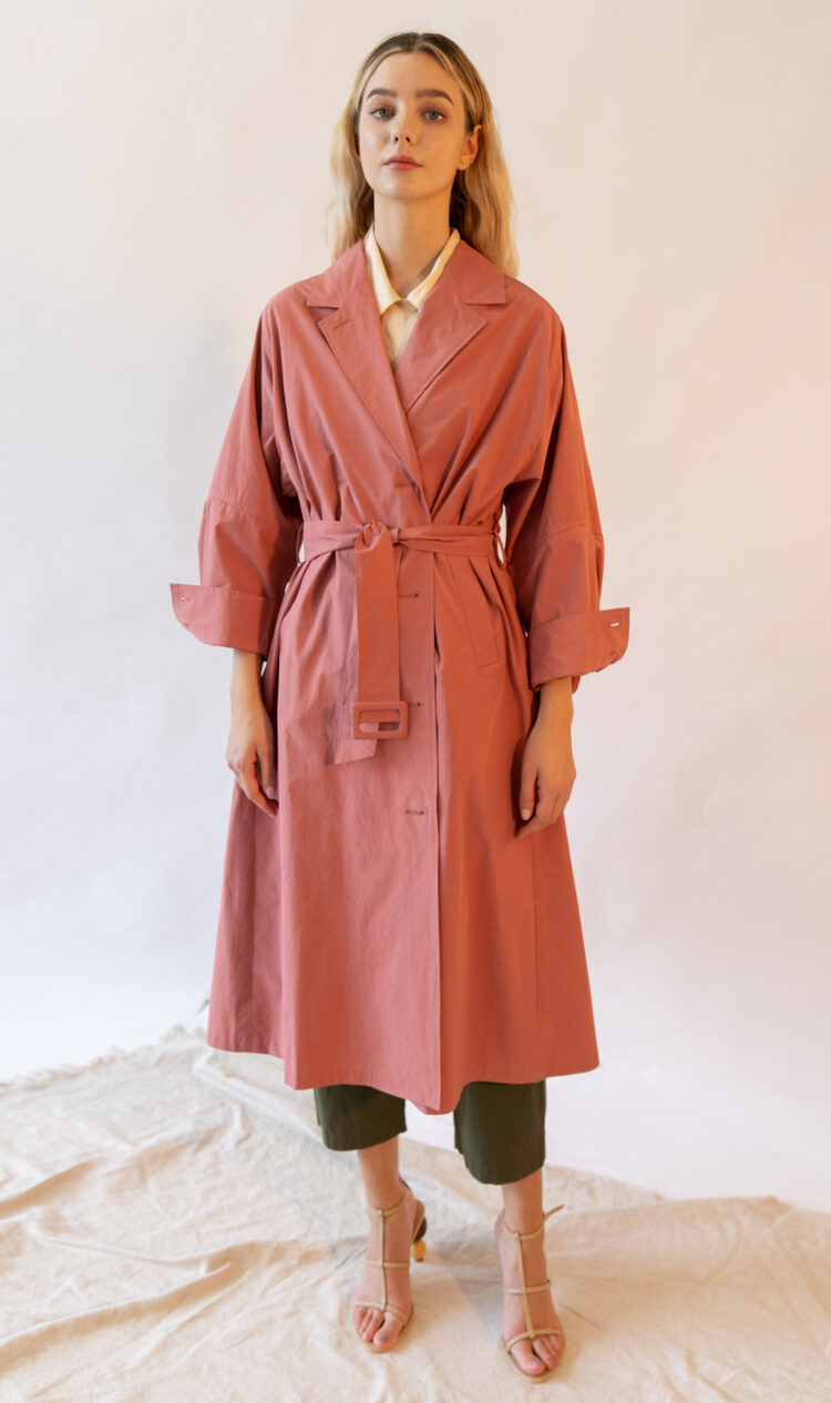 Coral volume sleeve cotton blend trench coat