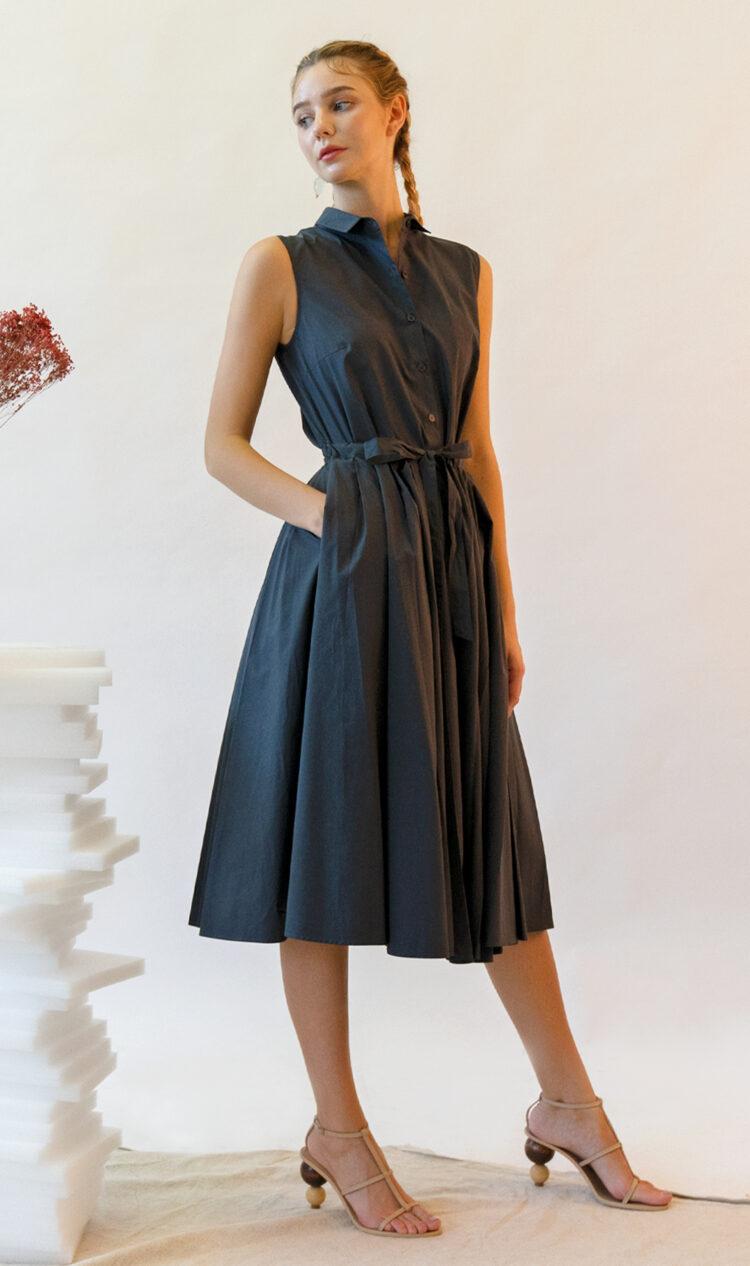 Dark grey sleeveless pleated double layer cotton dress