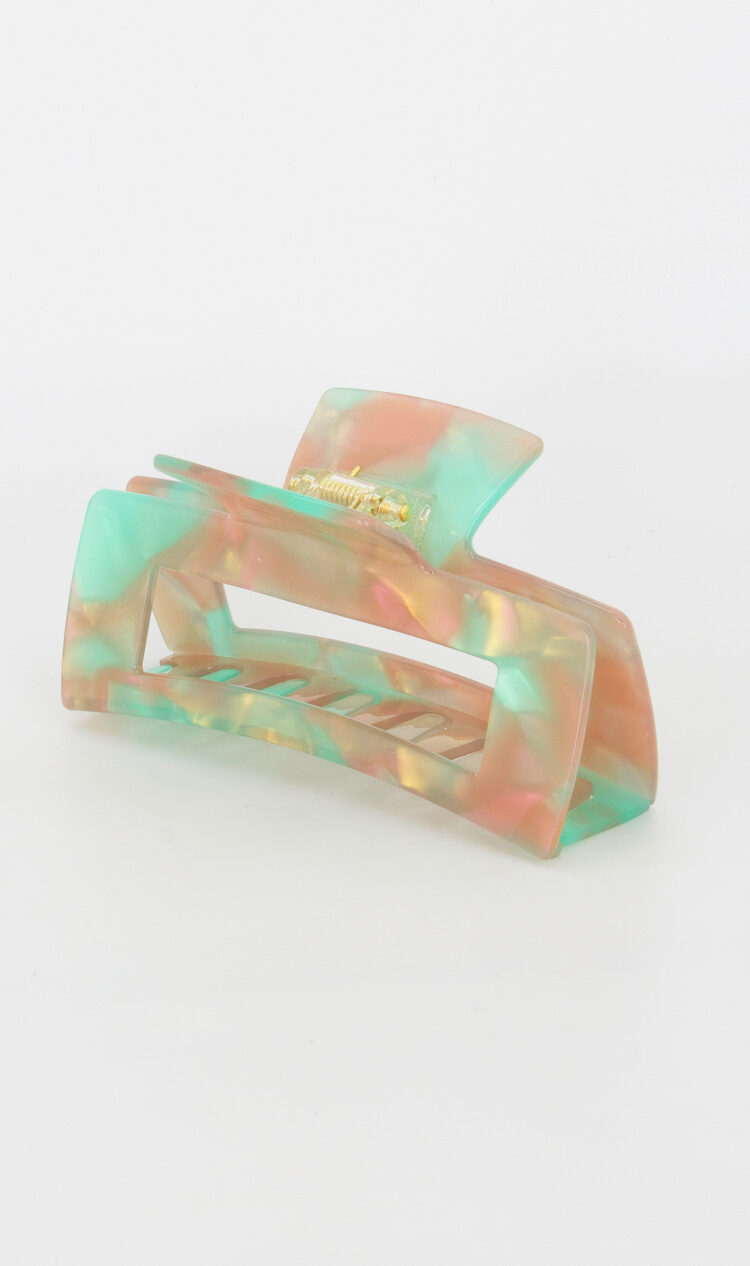 Coral-reef chunky square hair claw