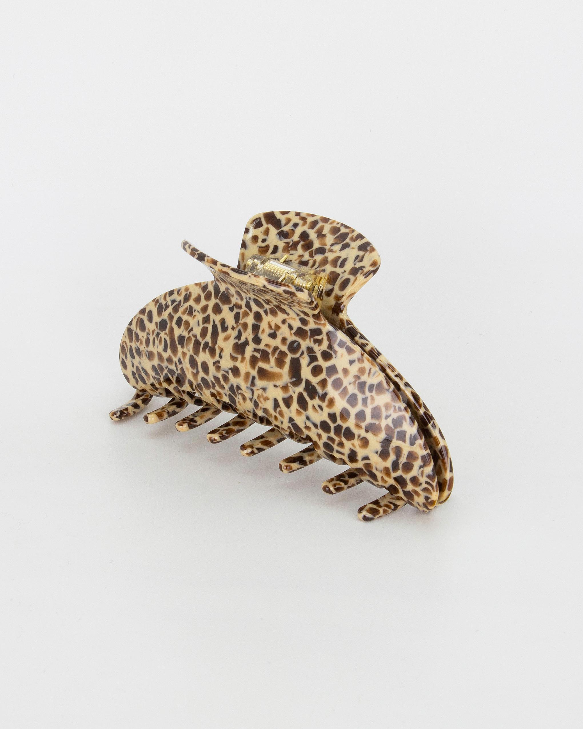 Emin + Paul leopard chunky crescent hair claw.