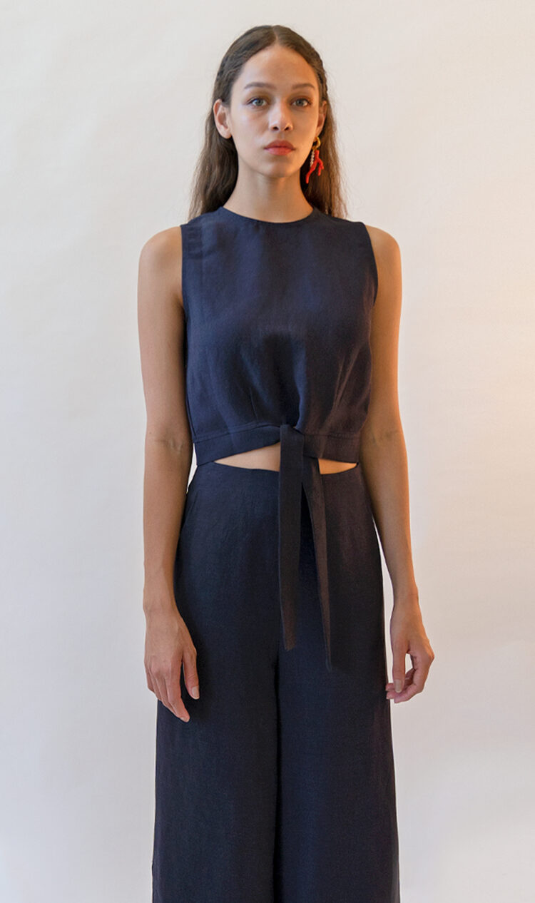 Navy sleeveless tie-front cropped linen blend blouse