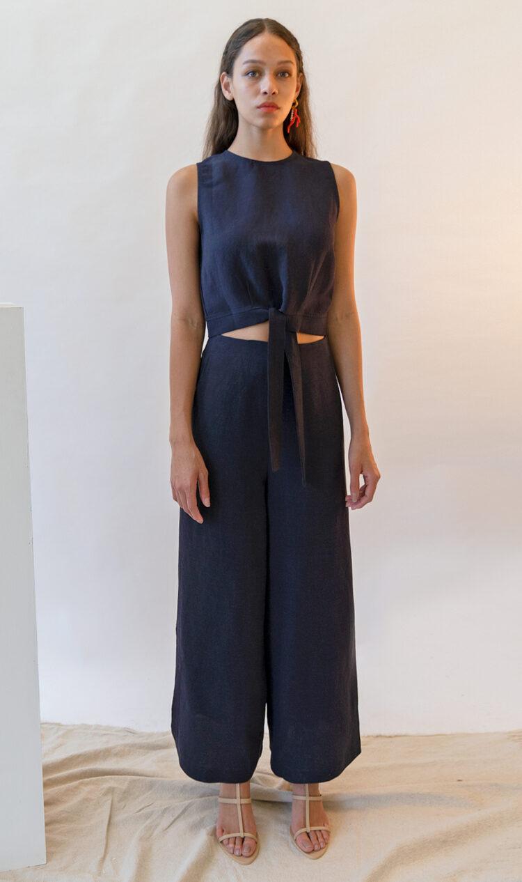 Navy side split linen blend trousers