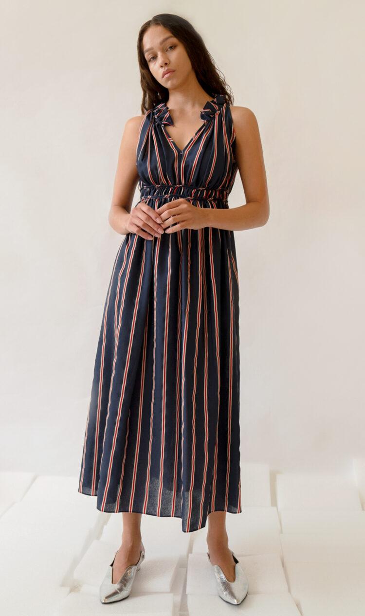 Navy-stripe gathered dress