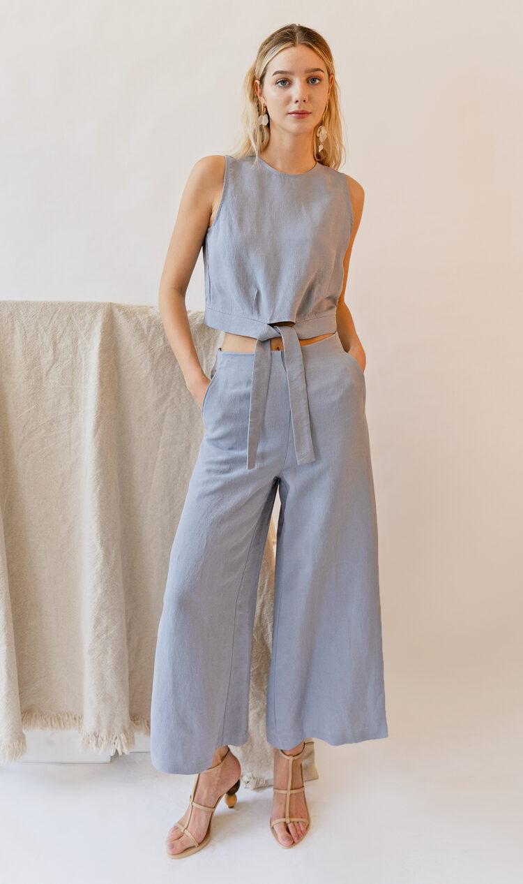 Sky side split linen blend trousers