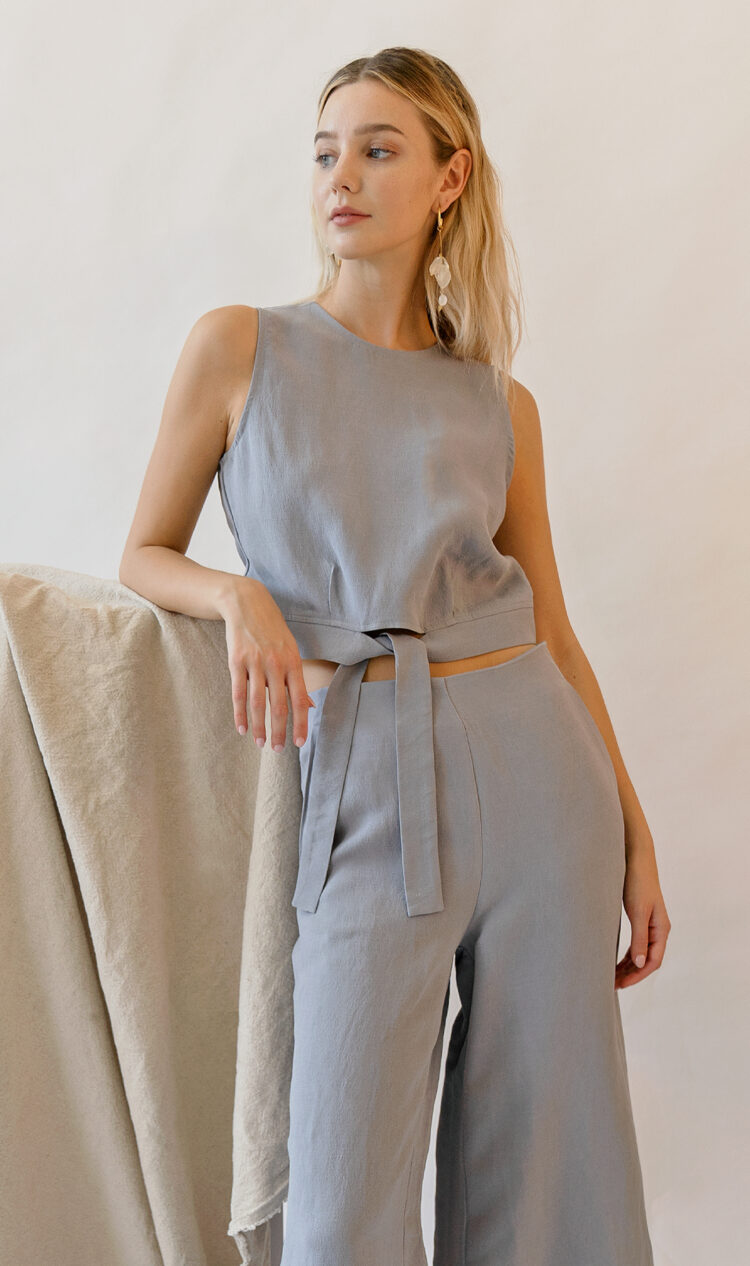 Sky sleeveless tie-front cropped linen blend blouse