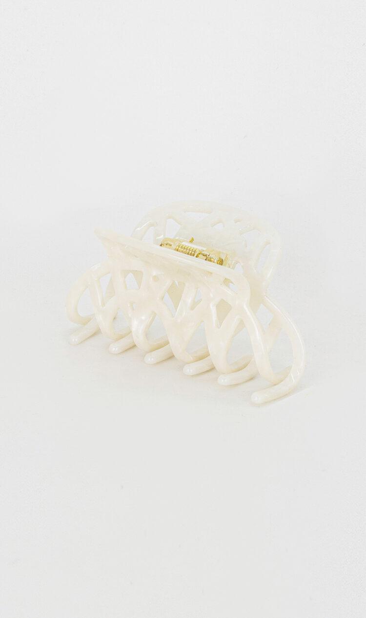 White-opal lattice hair claw