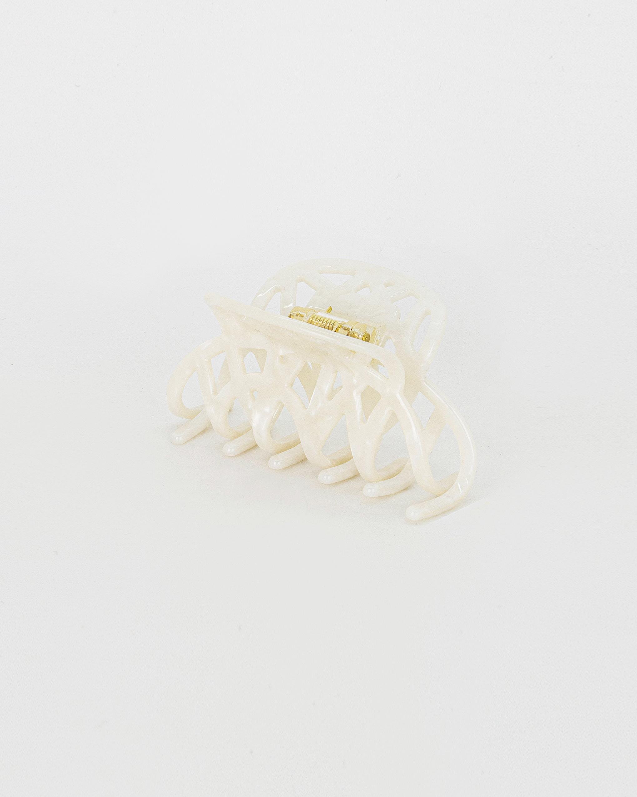 Emin + Paul white opal lattice hair claw.