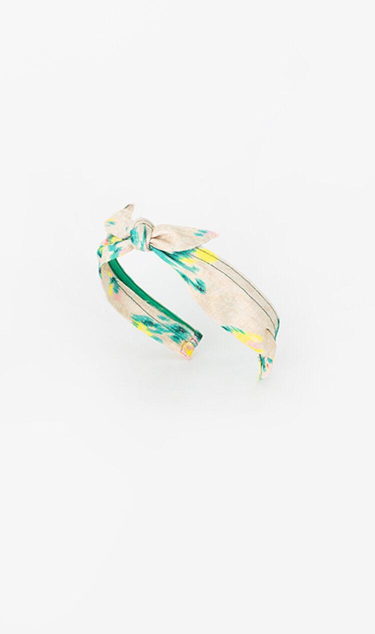 Green abstract bunny knot headband