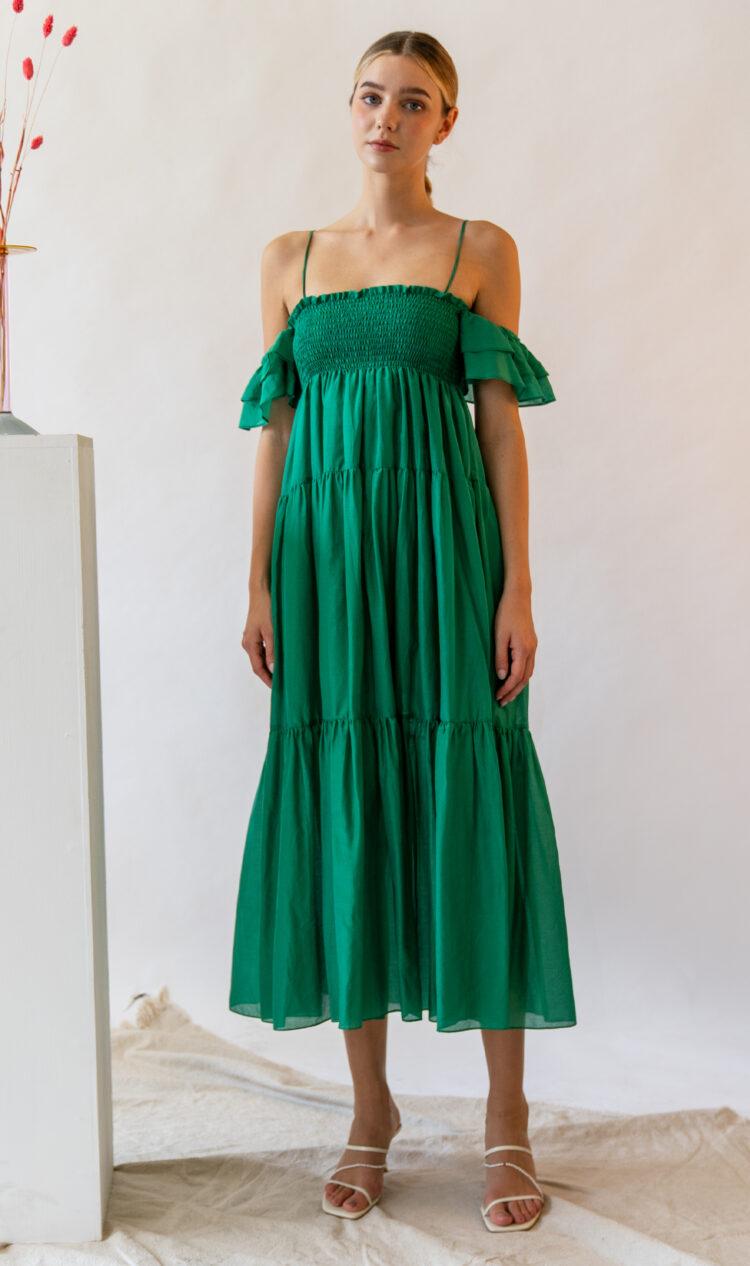 Green ruffle off-the-shoulder cotton-silk blend dress