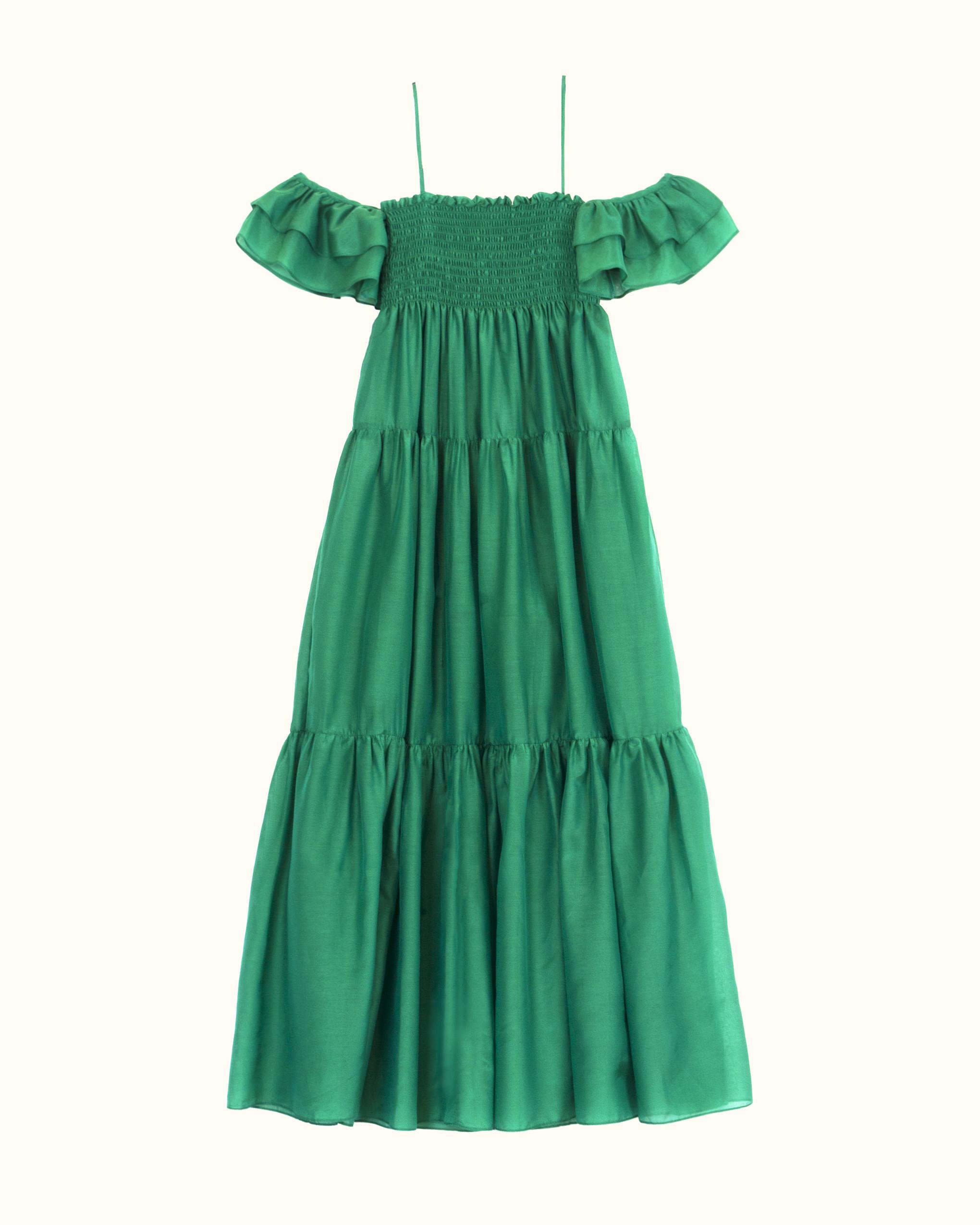 A green cotton-silk blend ruffle off-the-shoulder dress.