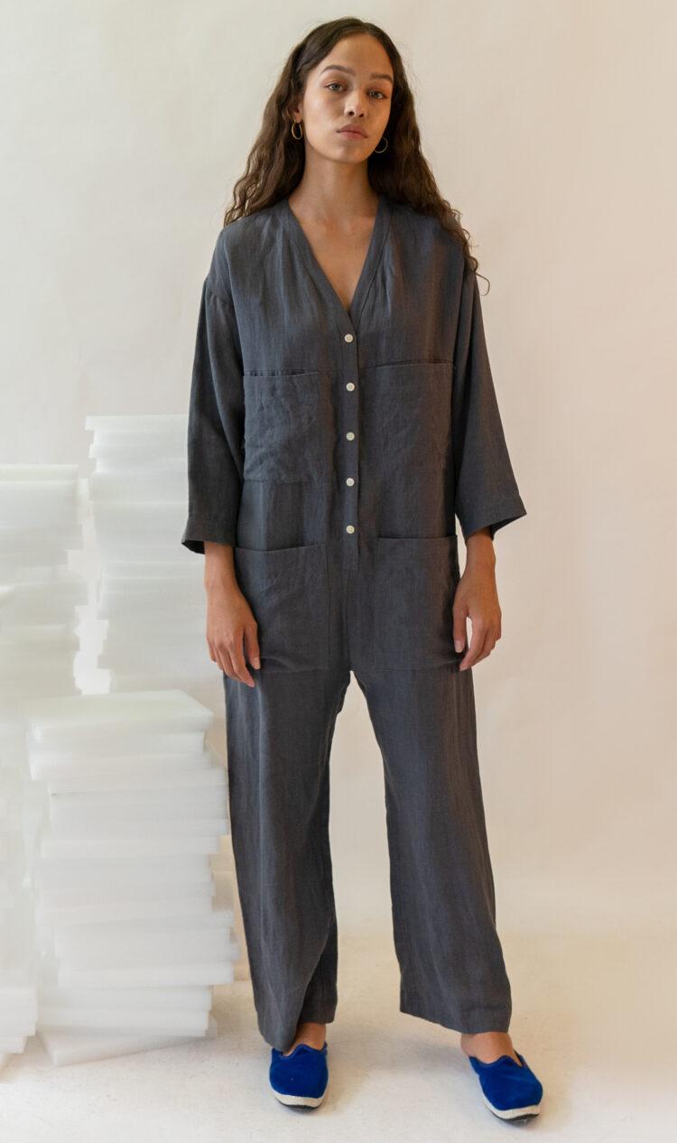 Grey wide sleeve linen utility jumpsuit