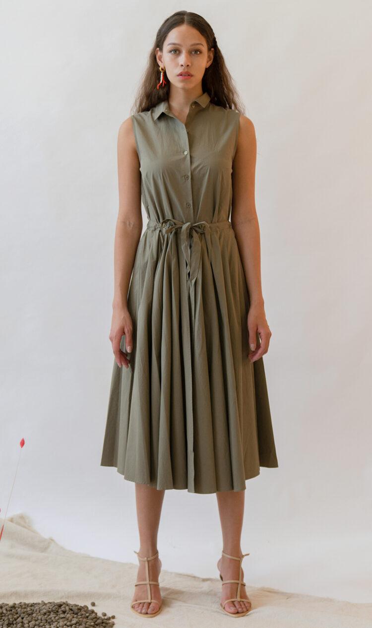 Khaki sleeveless pleated double layer cotton dress